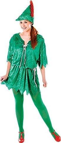 Grün Elfen Robin Hood Erwachsene Ausgefallen Party Kostüm Peter Pan Weiblich Uk Größe 10-14 (Weiblich Peter Pan Kostüm)