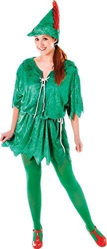 Pan Kostüm Weibliche Peter (Grün Elfen Robin Hood Erwachsene Ausgefallen Party Kostüm Peter Pan Weiblich Uk Größe)