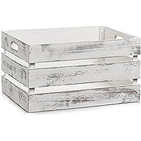 Zeller 15132 Aufbewahrungs-Kiste, Holz, vintage weiß, 39 x 29 x 21 cm