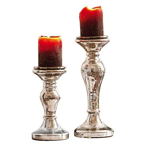 Loberon Kerzenständer 2er Set Pauline, Glas, max. H/Ø ca. 31/11 cm, antiksilber