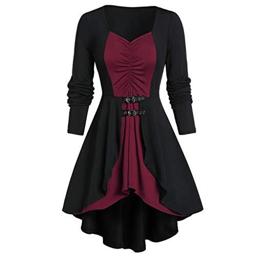 LILIHOT Frauen plus Größen Mantel Blusen Knopf zweiteilige Satz Taschen überlagerte Behälter lange Hülse UnregelmäßIge Normallack Herbst Art Weiseelegante Rock Kleid