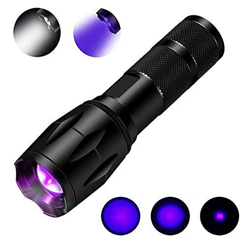 UV-Taschenlampe Schwarzlicht 395nm UV-Licht Cat Dog Pet Urinfleckendetektor Zoomable UV-Lampe für Haustiere & 550 Lumen Weißlicht 2 in 1 -
