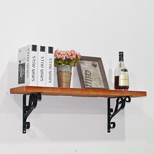 GF- Anique Design Loft Style DIY Buch Regale Schmiedeeisen Racks Holz Schindel Retro Regal Bücherregal Regal Display Rack, 120 * 20cm (Buch Display Bücherregal)