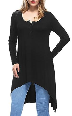 DKBAYA Damen Vogue Unregelmäßig Tunika Langarm Button-down Rundhals T-Shirt Bluse Schwarz X-Large (Langarm Schwangerschafts-tunika)