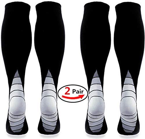 Calcetines / medias de compresión para hombres y mujeres, (2 pares) Mejor circulación sanguínea, prevenir los coágulos sanguíneos, acelerar la recuperación BEST Graduated Athletic Fit para correr, enfermeras, uso médico, Shin Splints, viaje de vuelo y embarazo de maternidad. Aumenta la resistencia, la circulación, reduce la fatiga (Black & Grey L/XL (Women 5.5-13 / Men 7-13.5) 2 PAIR)