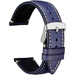 WOCCI 22mm Correa de Reloj de Piel Extrasuave con Hebilla Plata de Acero Inoxidable, Recambio Unisex (Azul Oscuro)