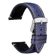Idea Regalo - WOCCI 18mm Orologio Cinturino in Pelle, Fibbia in Acciaio Inossidabile Argento, Unisex (Blu Scuro)