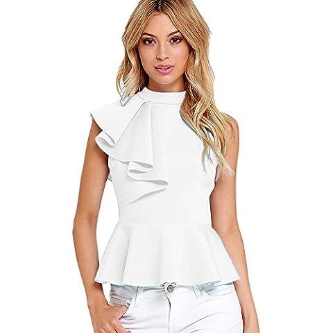 New Ladies blanco asimétrico volantes Peplum Top Club Wear Tops Casual Wear ropa tamaño M UK 10–12