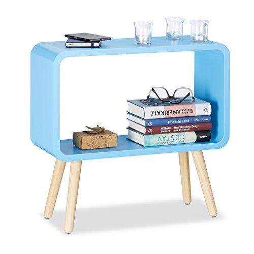 Relaxdays Standregal klein HxBxT: 50 x 53 x 20 cm, Nachttisch ohne Schublade, MDF Holzregal für das Kinderzimmer, blau
