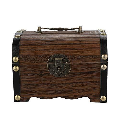 foreverH FORH Sichere Spardose mit Sparschwein aus Holz, mit Holzschnitzerei handgefertigt (14x10x10cm, Braun)