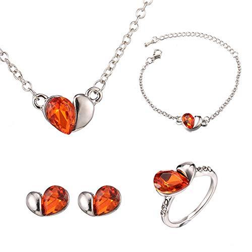 4 Stück Valentine Mode Sstyle Schmuck-Set Teardrop Strass Kristall Ohrringe Armband Ring Und Halskette Red -