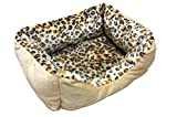 Small sized heated pet bed with leopard print design