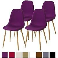 Albatros FANO Set de 4 retro sillas de comedor Púrpura/Violeta, SGS probado