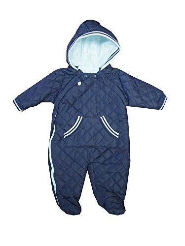 BABALUNO Baby Jungen Schneeanzug Overall Skianzug blau Kapuze Fuß (74/80)