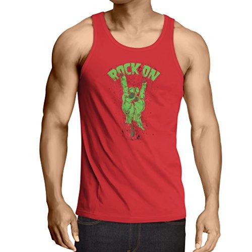 Camisetas de Tirantes para Hombre ¡Símbolo del metal de la mano del zombi! Signo de los cuernos (Large Rojo Multicolor)