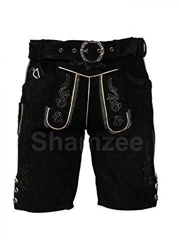 SHAMZEE Trachten Lederhose in Schwarz farbe inklusive Gürtel Echt Leder SHAMZEE lederhosen Gr. 46-62 (50, Schwarz)