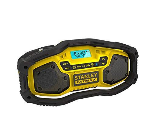 STANLEY FMC770B-QW - Radio con Bluetooth. Posibilidad de utilizar con baterías de 18V 1.5Ah, 2.0Ah o 4.0Ah y también conectado a la red eléctrica. Sin baterías ni cargador