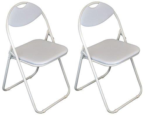 Harbour Housewares White Padded, Folding, Desk Chair/White Frame - Pack of 2 (White X-frame Schreibtisch)