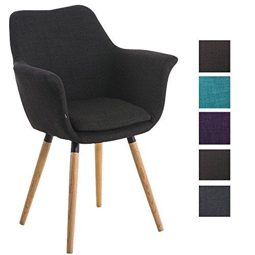 CLP Besucher-Stuhl VANCE, Holzgestell, Stoff-Bezug, Polsterstuhl mit Armlehne schwarz