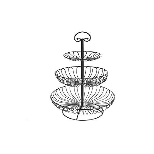 TONGBOSHI DREI-Tier-Obstteller von - Edelstahl-Stand von Golden für Kuchen Desserts Obst Candy Buffet Stand für Hochzeit & Home & Party Servierplatte (Color : Black) (Black Candy Buffet)