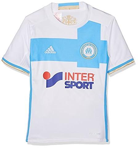 adidas Olympique Lyonnais Maillot de Football Garçon, White/Om Blue/Light Football Gold, FR : 152 (Taille Fabricant : 152)