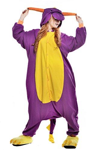 tüm Jumpsuit Tier Schlafanzug Erwachsene Unisex Fasching Cosplay Karneval (XL, Purple Dragon) (Dragon Horn Kostüm)