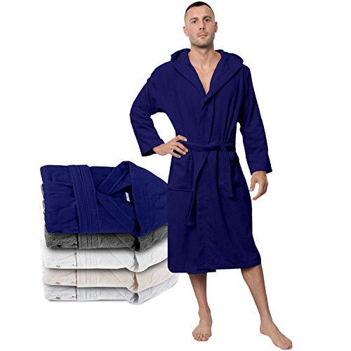 Twinzen Bata Hombre, Albornoz de baño M, Azul Oscuro - Oeko Tex, No Producto Químico - Albornoz...