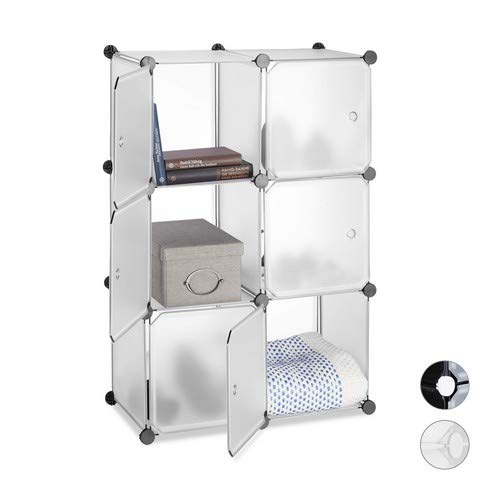 Relaxdays Regalsystem 6 Türen, DIY, Cubes, Grifföffnungen, Raumteiler, Badregal, Kunststoff, HBT 98x66x32cm, transparent