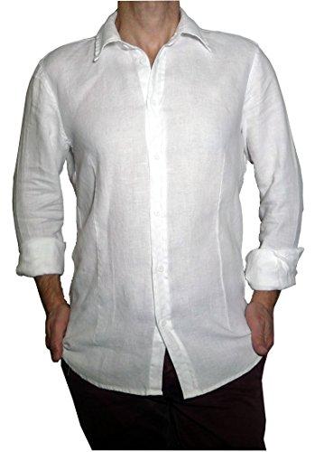 Fantasy camicia uomo ragazzo puro lino taglio avvitato slim manica lunga leggera fresca estiva (xxl 50 it uomo vita 98-100)