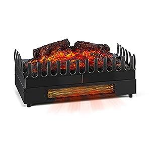 KLARSTEIN Kamini FX - Elektrischer Kamin, Elektrokamin, Kamineinsatz, glimmende Holzscheite, stimmungsvolle Beleuchtung und/oder Wärmequelle, 1000/2000 Watt Heizfunktion, 2 Watt LED, schwarz