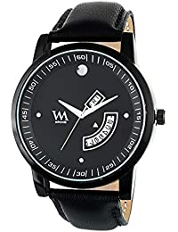 WM Black Dial Black Leather Strap Premium Branded Limited Edition Day And Date Collection Watch For Men DDWM-055