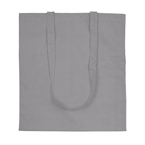 eBuyGB Pack di 5 100% 4oz cotone Shopping Tote Shoulder Bag (marrone) Grigio