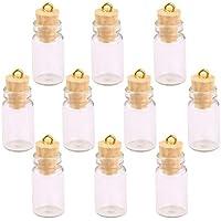 Rocita - Juego de 10 Mini Botellas de Cristal de Corcho de pequeños Viales en Miniatura con tarros de Cristal Transparente Multiusos (Incluye Corcho)