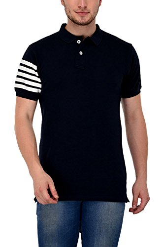 Adoski Men's Polo/Collar Neck Navy Blue Half Sleeve T-shirt