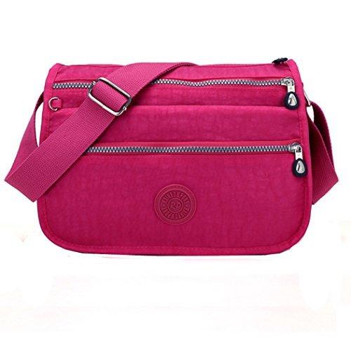 Moonbuy - Bandolera impermeable, de Nylon, color rosa, talla M