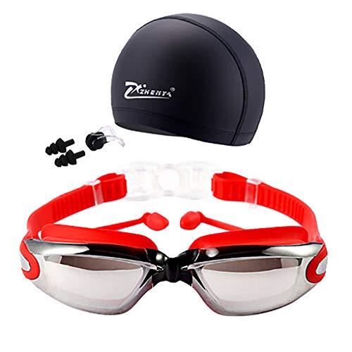 MA87 Nicht-Fogging & Frauen UV-Schutz Nasenklammer Schwimmbrille Männer Brille Badekappe (rot)