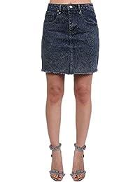 PILOT® Women's A Line Frayed Hem Denim Mini Skirt in Indigo Blue