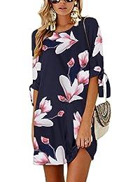 YOINS Sommerkleid Damen Tshirt Kleid Rundhals Kurzarm Minikleid Kleider Langes Shirt Lose Tunika mit Bowknot Ärmeln