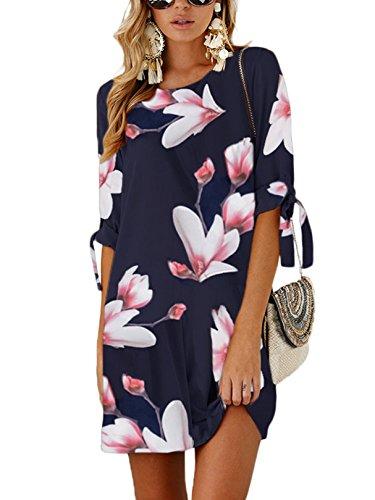 YOINS Sommerkleid Damen Kurz Tshirt Kleid Rundhals Kurzarm Minikleid Kleider Langes Shirt Lose Tunika mit Bowknot Ärmeln ,L,Rosa-01 -