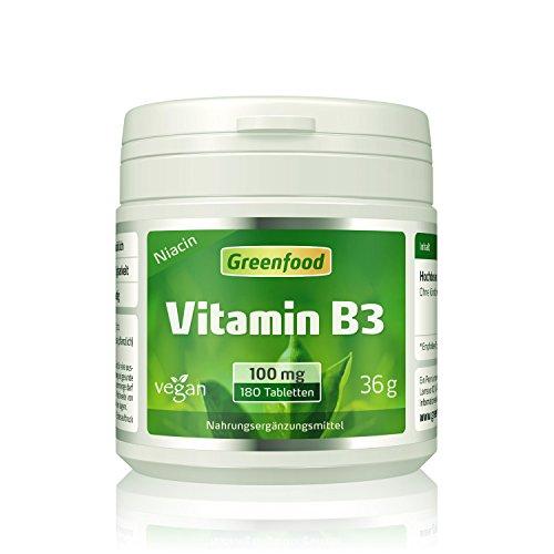 Vitamin B3 (Niacin), 100 mg, hochdosiert, 180 Tabletten, vegan – das Glücks-Vitamin, fördert die Durchblutung. OHNE künstliche Zusätze. Ohne Gentechnik.
