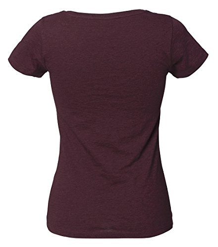YTWOO Amy Damen Basic T-Shirt Aus 100% Bio-Baumwolle mit Rundhalsausschnitt und taillierte Passform, Bio Kurzarmshirt, Organic Cotton Heather Grape Red