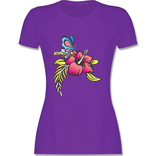 Blumen & Pflanzen - Blumen - tailliertes Premium T-Shirt mit Rundhalsausschnitt für Damen Lila