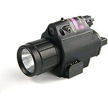 CYBERDAX Linterna Táctica Láser Rojo Sight Combo Para 20mm Picatinny Carril Para Pistola / Glock