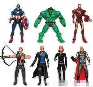 """The Avengers 7"""" Captain America Wolverine Thor Spiderman Batman 15cm Action Figures Toy 7 pcs"""
