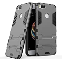 Fundas Xiaomi Mi A1 (5X) Carcasa Cover, Ougger Protector Extrema Absorción de Impacto [Soporte de vídeo] Armor Cover Duro Plástico + Suave TPU Ligero Rubber 2in1 Back Gear Rear Gris