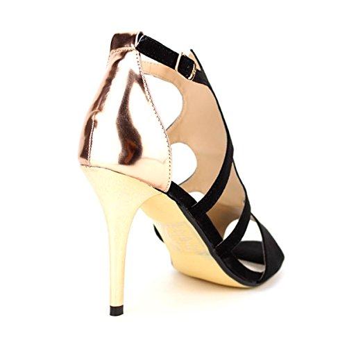 Cendriyon Sandale Noire Romantica Chaussures Femme Noir