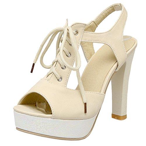 AIYOUMEI Damen knöchelriemchen Peep Toe Blockabsatz Slingback Sandalen mit Schnürung Pumps Schuhe Beige
