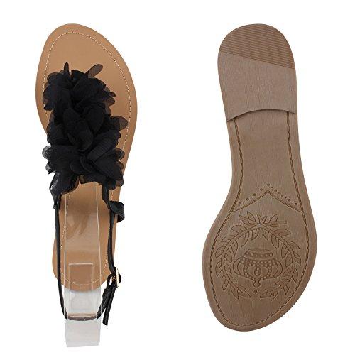 Damen Sandalen Dianetten Blumen Zehentrenner Bequeme Schuhe Schwarz Blume