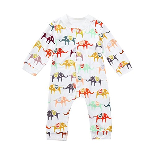 QinMM Mono de Elefante del Infantil bebé niño y niña Body Camisa de algodón Manga Larga,Blanco,12 Months