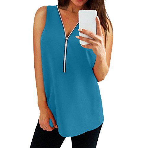 QingJiu Damen Frauen Reißverschluss Sleeveless Beiläufige Weste Top Bluse Damen Sommer Lose T Shirts Unterhemd Top ()